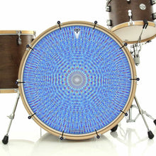 Blue Rainbow Blossom bass face drum banner installed on drum kit; geometric drum art