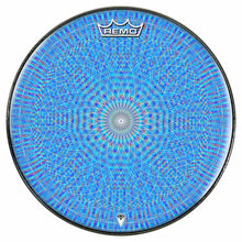 Blue Rainbow Blossom Design Remo-Made Graphic Drum Head by Visionary Drum; blue pattern drum art