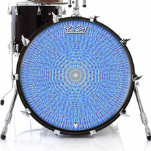 Blue Rainbow Blossom Design Remo-Made Graphic Drum Head on Bass Drum; mandala drum art