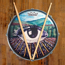 Eye in a lavender field graphic drum head on snare. Head by Remo.