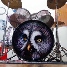"Drum set with Owl graphic 22"" bass drum head by Remo."