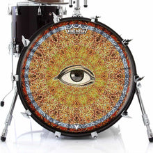 Seeing Design Remo-Made Graphic Drum Head on Bass Drum; abstract drum art