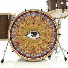 Seeing bass face drum banner installed on bass drum; visionary drum art