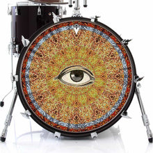 Seeing graphic drum skin on bass drum head by Visionary Drum; abstract drum art