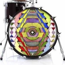 Singular Vision Design Remo-Made Graphic Drum Head on Bass Drum; geometric pattern drum art