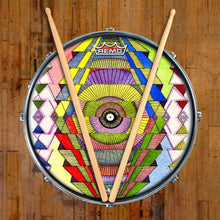 Singular Vision Design Remo-Made Graphic Drum Head on Snare Drum; rainbow pattern drum art