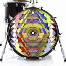 Singular Vision graphic drum skin on bass drum head by Visionary Drum; psychedelic drum art