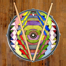Singular Vision graphic drum skin on snare drum head by Visionary Drum; geometric drum art