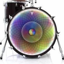 Spin and Project graphic drum skin on bass drum head by Visionary Drum; rainbow drum art