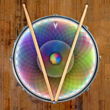 Spin and Project graphic drum skin on snare drum head by Visionary Drum; purple drum art