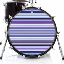 Blue Stripes graphic drum skin on bass drum head by Visionary Drum; happy drum art