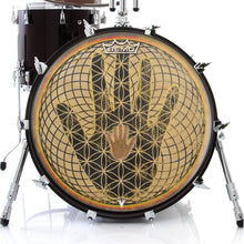 Remo made Visionary drum hand design graphic drum head on bass