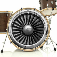 Turbine bass face drum banner installed on bass drum; gray pattern art