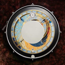 Big Fat Snare Drum with astrological clock Visionary Drum skin, room shot