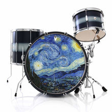 Van Gogh Starry Night graphic drum skin installed on bass drum head and shown on black drum kit; post impressionist drum art