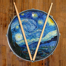 Van Gogh Starry Night graphic drum skin on snare drum head by Visionary Drum; cosmos drum art