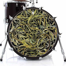 Vines graphic drum skin on bass drum head by Visionary Drum; abstract drum art