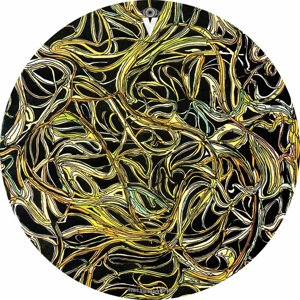 Vines design graphic drum skin by Visionary Drum; green plant drum art