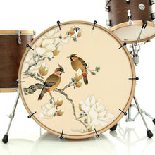 White Magnolia With Pair of Thrush Graphic Drum Head Art - All Styles and Sizes - Art by Sally Nissen