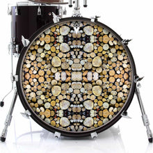 Woodpile graphic drum skin on bass drum head by Visionary Drum; nature pattern drum art