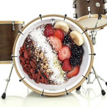 Acai Bowl graphic bass face banner on drum.