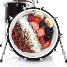 Acai Bowl graphic drum skin on bass drum.