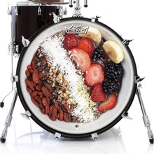 Acai Bowl graphic drum head on bass.