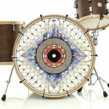 Aladnam bass face banner on bass drum by Visionary Drum; mandala drum art