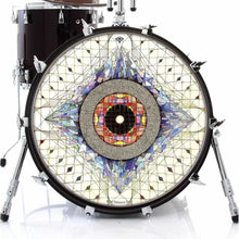 Aladnam graphic drum skin on bass drum head by Visionary Drum; sacred geometry drum art