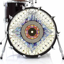 Aladnam Remo-Made Graphic Drum Head on Bass Drum by Visionary Drum; blue pattern drum art