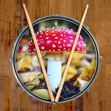 Amanita Mushroom graphic drum skin on snare drum by Visionary Drum; red, close-up, nature art