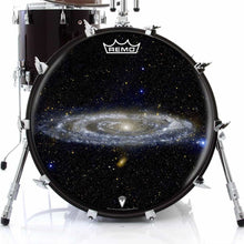 Andromeda galaxy drum head on bass drum.