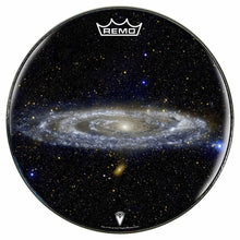 Andromeda galaxy drum head by visionary drum, powered by Remo