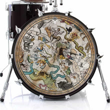 Antique Star Map graphic drum skin installed on bass drum kit by Visionary Drum