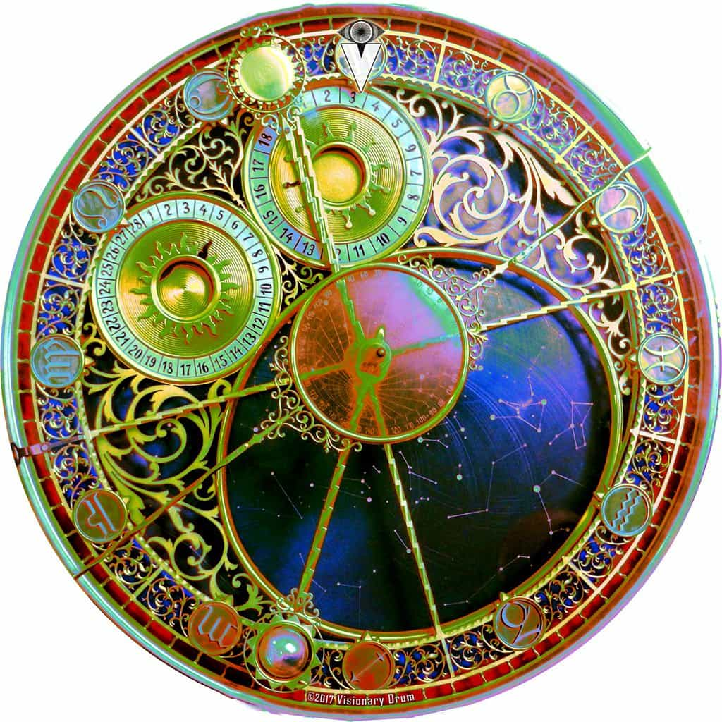 Astrological Clock 2 design graphic drum skin by Visionary Drum