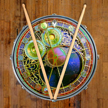 Astrological Clock 2 graphic drum skin on snare by Visionary Drum; colorful, vintage art