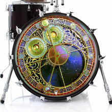 Astrological Clock 2 Remo-Made Graphic Drum Head on Bass Drum by Visionary Drum