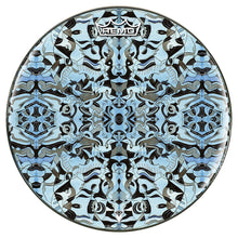 Blue and black graphic art drum head -- Powered by Remo