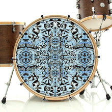 Blue and black Remo-made graphic drum head on bass drum