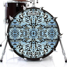 Blue and black graphic art Remo drum head by Visionary Drum