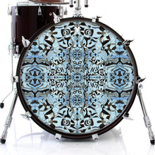 Blue and black graphic art drum skin decal on bass drum