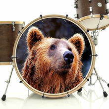 Grizzly bear graphic bass face drum art banner on bass drum