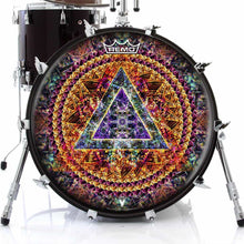 Bismuth Remo-Made Graphic Drum Head on Bass Drum by Visionary Drum