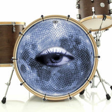 Blue Moon Vision bass face banner on bass drum kit by Visionary Drum