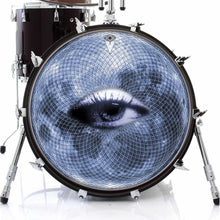 Blue Moon Vision graphic drum skin on bass drum kit by Visionary Drum; moon drum art