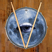 Blue Moon Vision graphic drum skin on snare drum by Visionary Drum