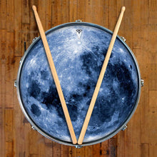 Blue Moon graphic drum skin on snare drum by Visionary Drum; full moon drum art