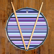 Blue Stripes graphic drum skin on snare drum head by Visionary Drum; purple pattern drum art