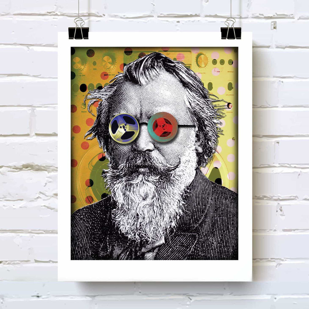 Composer Brahms funky portrait art print for classical music lovers