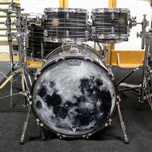 "Moon Graphic 22"" Remo bass drum head on drum set"